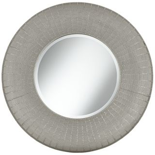 "Pounded Metal 35"" High Round Wall Mirror   #X3211"