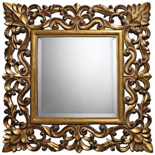 "Barrets 22"" Square Beaufort Gold Wall Mirror   #X7119"