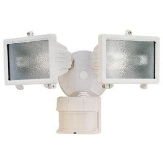"White Finish 13"" Wide 2 Light Motion Sensor Security Light   #K6529"