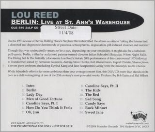Cent CD Lou Reed Berlin Live at St Anns Promo Advance 2008