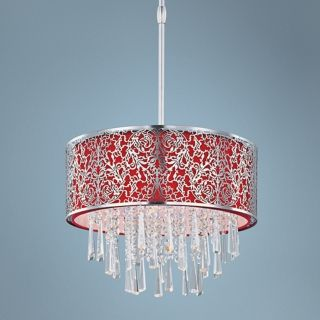 "Maxim Rapture 16"" Wide Red and Satin Nickel Pendant Light   #U5464"