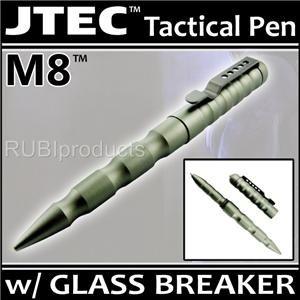 JTEC? Aluminum TACTICAL PEN Matte Titanium w/ GLASS BREAK Self