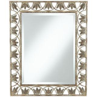 """Ferns Champagne Silver 33"""" High Wall Mirror   #U5068"""