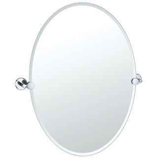 "Gatco Latitude 2 Chrome Finish 26 1/2"" High Oval Wall Mirror   #P8431"