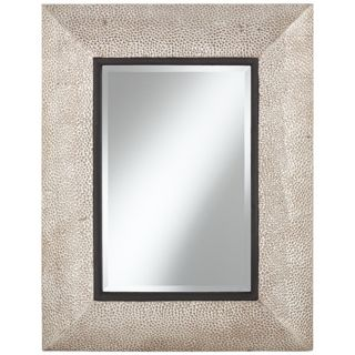 "Hammered Silver Metal 35 1/2"" High Rectangular Wall Mirror   #X5879"