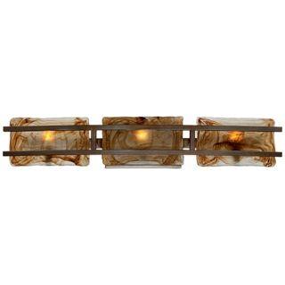 """Corinthian Bronze Art Glass 3 Light 28"""" Wide Bath Light   #U5600"""
