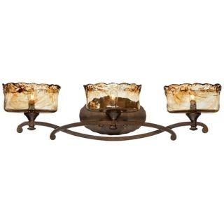 """Bronze Art Glass 3 Light 28 1/2"""" Wide Bath Light Fixture   #U5599"""