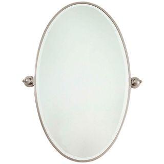 """Minka 36"""" High Oval Brushed Nickel Bathroom Wall Mirror   #U8970"""