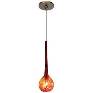 LBL Madeleine Red Art Glass Bronze Pendant   #W1955 M8561