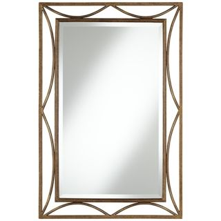 "Openwork Crescent 36"" High Bronze Metal Wall Mirror   #V8908"
