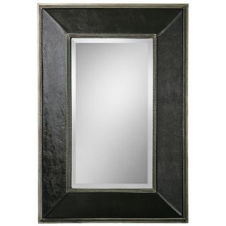 "Uttermost Dorran 41"" High Leather Rectangular Wall Mirror   #X8267"