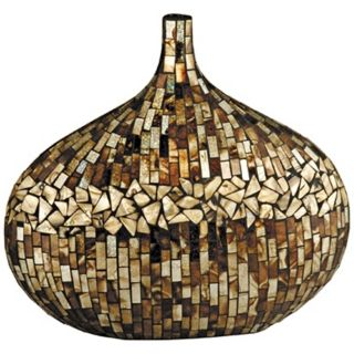 Dale Tiffany Amber Shell Oval Mosaic Art Glass Vase   #X5072
