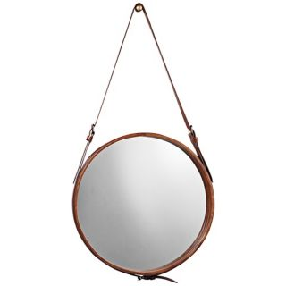 """Jamie Young Leather Strap 29"""" High Round Wall Mirror   #U3443"""