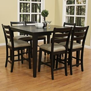 Unique 7pcs Pub Counter Height Wood Kitchen Dining Room Table 6 Person