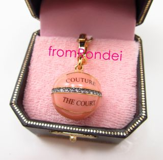 Authentic Juicy Couture Pink Basketball Ball Court Sports Gold Charm