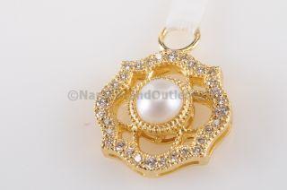 Jude Frances Yellow Gold 18K Diamond White Pearl Flower Single Earring
