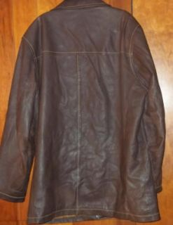 DESCRIPTION M JULIAN WILSONS BROWN ALL LEATHER CAR COAT JACKET XL