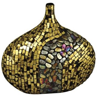 Dale Tiffany Antique Gold Oval Mosaic Art Glass Vase   #X5068