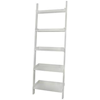 White Finish Solid Wood 5 Tier Leaning Shelf   #U4258