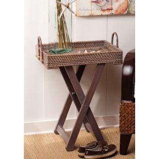 Hapao Rattan and Wood Adjustable Side Table   #U4018