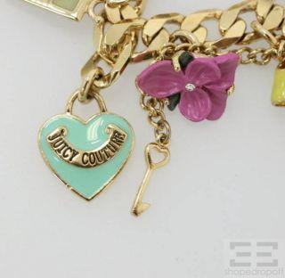 Juicy Couture Gold Curb Link Multicolor Charm Bracelet
