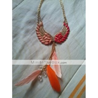 USD $ 7.69   Angel Wings Feathers Pendant Necklace,