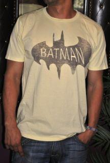 Junk Food Vintage Super Hero Batman Mens T Shirt Tee Yellow