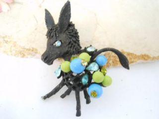 Vtg Hattie Carnegie Signed Black Donkey Animal Blue Bead Rhinestone