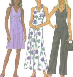 Misses Halter Style Dress Jumpsuit Sewing Pattern Zipper New Look 6757