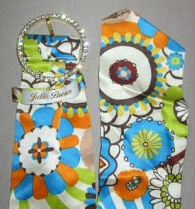 Julie Brown Colorful Fabric Belt w Rhinestone Buckle