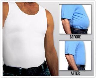 Instaslim Mens Slimming Tank Top Undershirt White or Black as Seen on