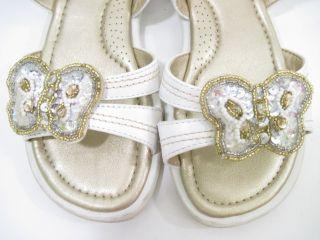 Jumping Jacks Girls White Butterfly Sandals Flats Sz 12