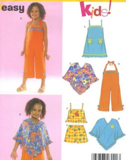 Childs Girl Dress Jumpsuit Top Shorts Poncho Sewing Pattern Straps
