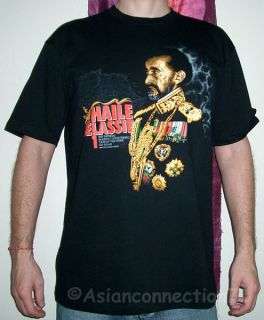 Haile Selassie New Roots Rasta Reggae T Shirt XXL Black