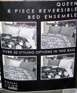New Zahara Queen Size Comforter Set Sham Bed Skirt Zebra Jungle Black