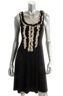 Karen Kane New Black Ruffled Lace Trim Sleeveless Casual Dress M BHFO