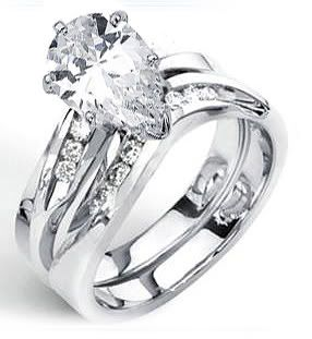 04 Ct Pear Cut Genuine Diamond Engagement Wedding Ring Band Set 14k