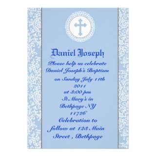Baby Boys Baptism/Christening Personalized Invitation
