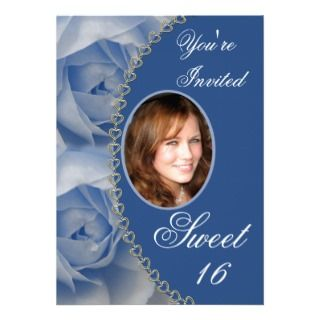 Elegant Blue Roses Sweet 16 Photo Invitation