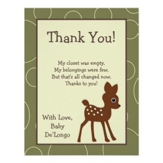 4x5 FLAT Thank You Card Forrest Animal Owl Deer Invite