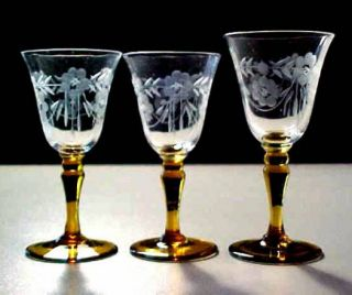 Cordial Glasses Clear Bowls w Cut Etched Flowers Amber Stems UNK236