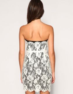 Karen Millen New Black White Lace Corset Dress Size 12