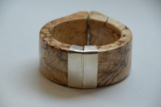 Kara Ross Maple Wood Shirt Cuff Bracelet Bangle Sterling Silver