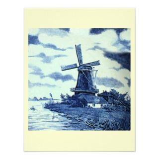Vintage Antique Delft Blue Tile   Windmill Personalized Invitations