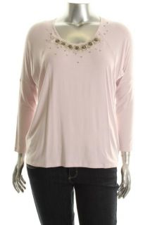 Karen Kane New Pink Dolman Sleeve Embellished Shirt Knit Top Plus 1x