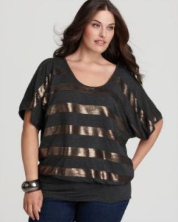 Karen Kane New Gray Sequined Stripe Blouson Dolman Sleeve Blouse Plus