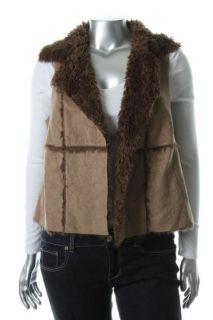 Karen Kane New Taming Topaz Brown Faux Fur Outerwear Vest Plus 0X BHFO