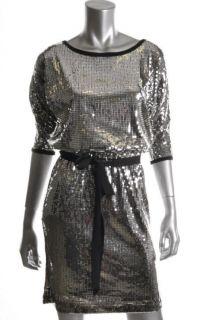 Karen Kane New Lifestyle Black Belted Sequin Cocktail Dress M BHFO
