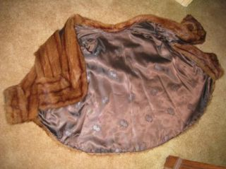 Vintage Ladies Mink Fur Short Open Swing Jacket Red Brown Lined 51K