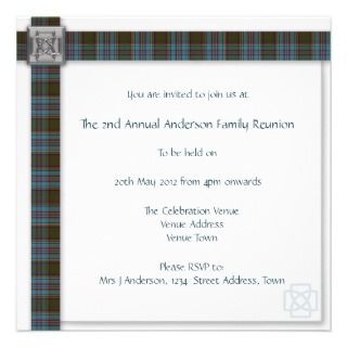 Anderson Family Reunion Scottish Tartan Custom Announcements